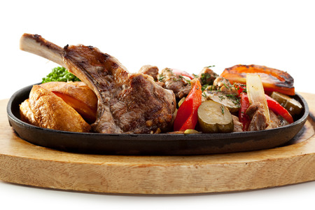 Roasted Lamb Chops with Potato and Vegetables photo