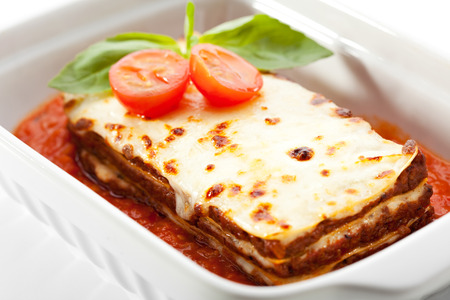 İtalyan mutfağı: Italian Cuisine - Lasagna with Tomato Sauce Stok Fotoğraf