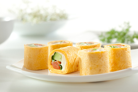 maki: Mexico Maki Sushi - Roll made of Smoked Salmon Stock Photo