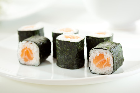 sake maki: Sake Maki Sushi - Roll with Fresh Salmon