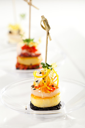 canapes: Seafood and Vegetables Canapes over White