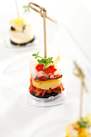 Seafood and Vegetables Canapes over White photo