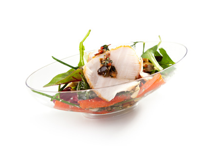 seafood salad: Buffet Seafood Salad on White Dish Stock Photo