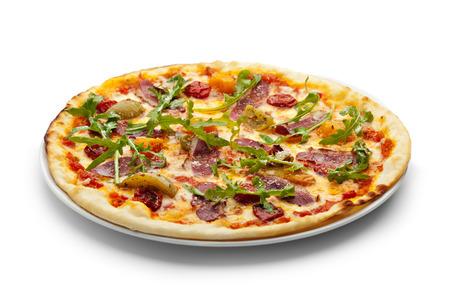 comida chatarra: Pato de Pizza Carne con tomate seco, Rucola y queso mozzarella