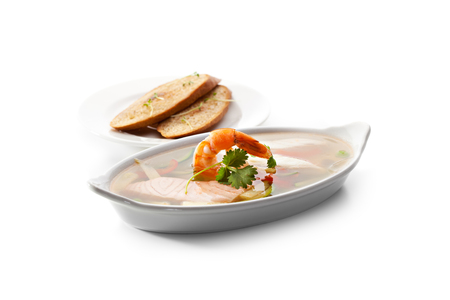 Seafood Aspic topped with Shrimps. Garnished with Bread photo