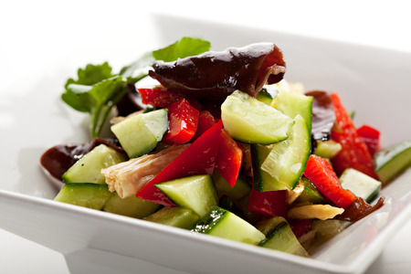 shiitake: Japanese Cuisine - Freshness Vegetables Salad with Bean Sticks and Shitake Mushrooms Stock Photo