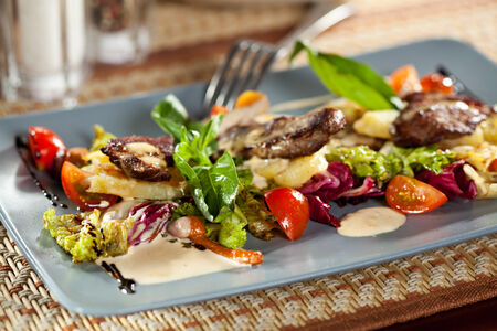 chicken salad: Salad with Pickled Beef, Potato, Mushrooms, Cherry Tomato and Meat Sauce