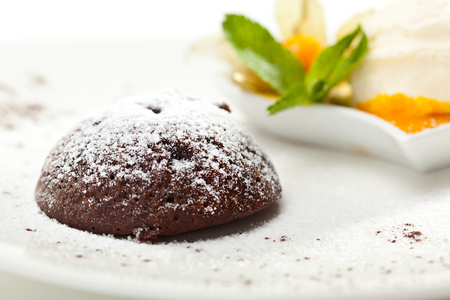 fondant fancy: Dessert - Chocolate Fondant with Ice Cream and Fruits