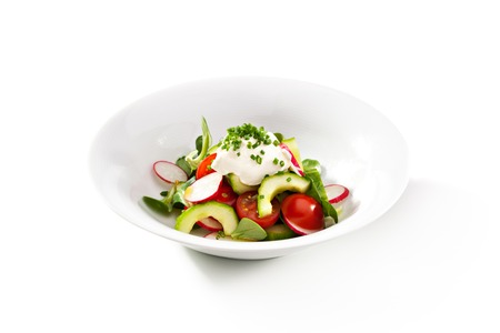 Fresh Vegetables Salad with Sour Cream photo