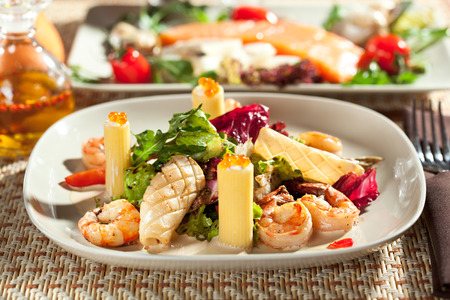 king salmon: Seafood with Rigatoni Pasta and Mixed Salad Stock Photo
