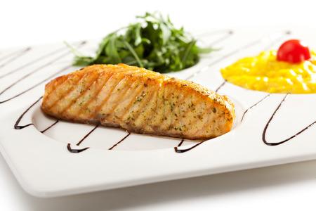 ruccola: Salmon Steak with Saffron Risotto and Ruccola