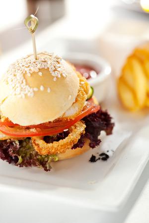 Sandwich with Deep Fried Fish and Calamari Rings photo