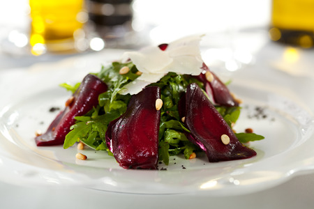 goat cheese: Salad with Beet and Cheese Stock Photo