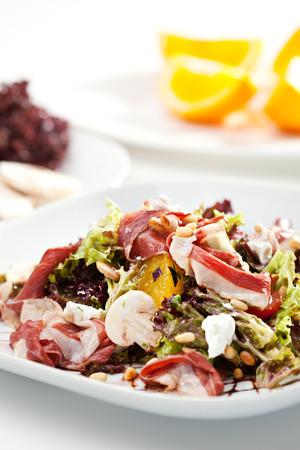 pinoli: Warm Salad with Parma Ham, Mushrooms, Orange and Pine Nuts