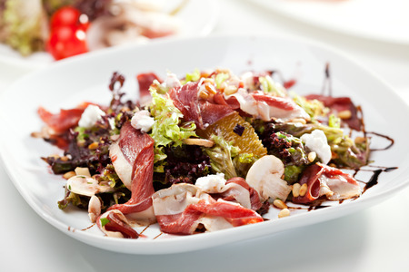 parma ham: Warm Salad with Parma Ham, Mushrooms, Orange and Pine Nuts