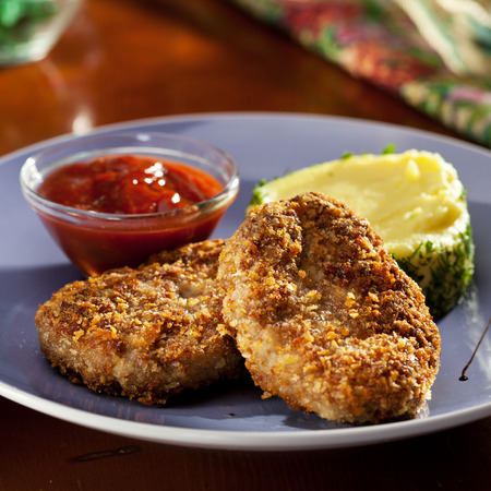 schnitzel: Schnitzel Served with Mashed Potato Stock Photo