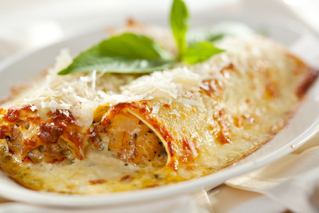 Tasty Cannelloni Topped with Basil Leaf