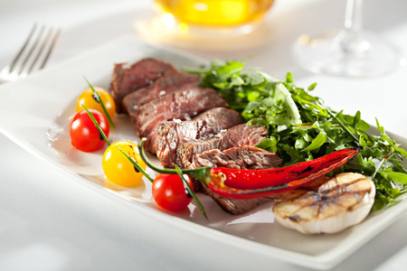 Roast Beef with Vegetables and Rocket Salad photo