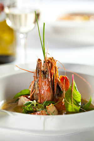 wine sauce: Fried Shrimps with Wine Sauce Stock Photo