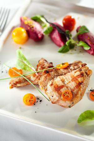 pork  loin: Pork Loin BBQ with Beet Cream and Sauce