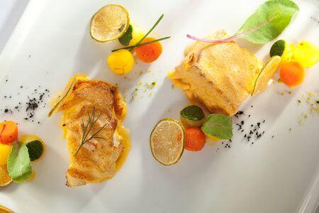 halibut: Salmon and Halibut Fillet with Citrus Mix Stock Photo