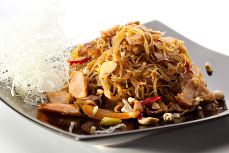 thai noodle soup: Pork with Rice Noodles and Vegetables