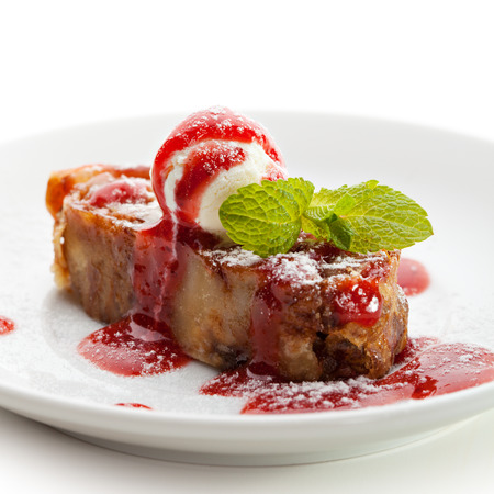 fruitcake: Apple Strudel Served with Ice Cream and Fresh Mint Stock Photo