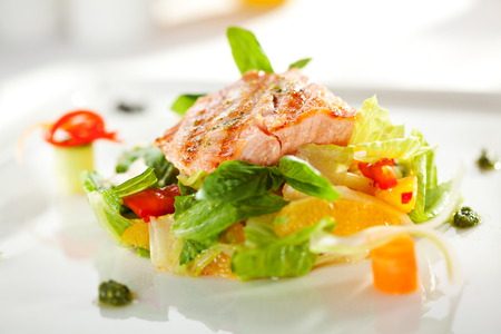 Warm Salad with Grilled Salmon and Vegetables photo