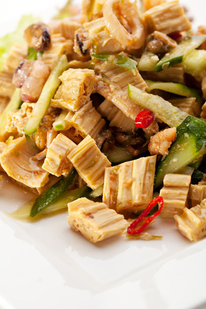 Chinese Tofu Skin Salad with Sauce and Squids photo