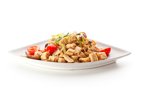 Chinese Tofu Skin with Mushrooms and Vegetables photo
