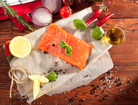 rosmarin: Salmon Fillet with Spicy and Lemon Stock Photo