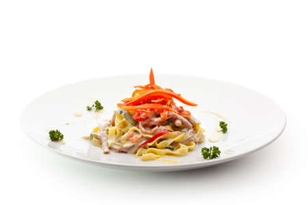 Tagliatelle with Sliced Meat and Vegetables photo