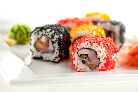 roe: Japanese Cuisine - Sushi Roll with Tuna, Salmon, Conger and Flying Fish Roe