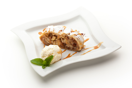 cream pie: Apple Strudel Served with Ice Cream Stock Photo