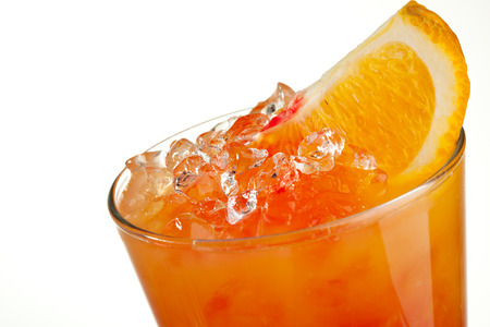grenadine: Fruits Cocktail with Orange, Pineapple, Grapefruit and Grenadine Stock Photo