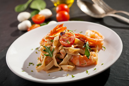 Pasta with Shrimps and Tomato Sauce photo