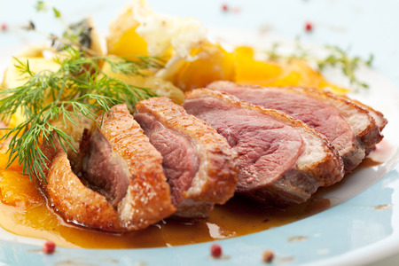 Duck Breast with Orange and Potato 写真素材
