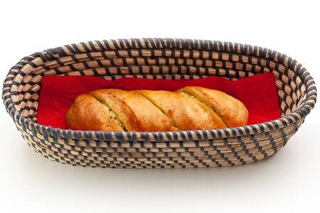long loaf: Long Loaf Basket over White Stock Photo
