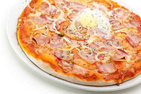bacon and eggs: Pizza Carbonara with Bacon, Eggs Stock Photo