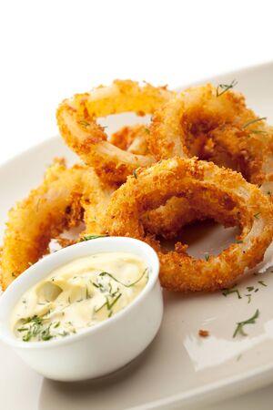 sauce bowl: Deep Fried Calamari Rings with Sauce Bowl Stock Photo