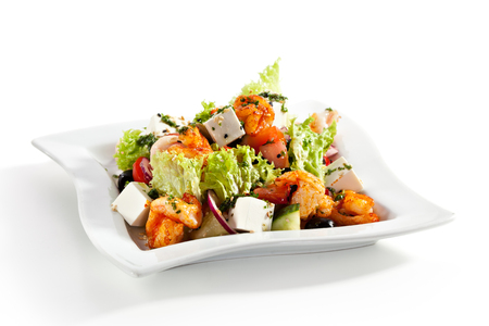feta cheese: Salad with Seafood, Feta Cheese and Vegetables Stock Photo