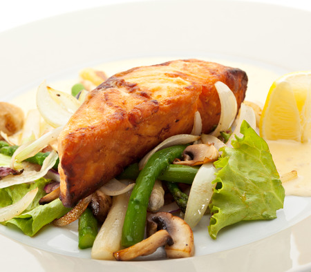 Salmon Steak with Vegetables and Sauce photo