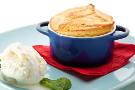 Mango Souffle Garnished with Ice Cream
