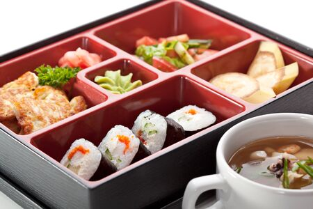 bento: Japanese Cuisine - Sushi Roll with Appetizers, Dessert and Soup