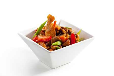 thai chili pepper: Chicken Stir-Fry Cashew and Vegetables with Sweet Sauce