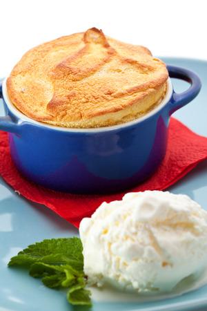 souffle: Mango Souffle Garnished with Ice Cream