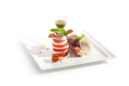 meat food: Salad Caprese with Bacon Wrapped Bread and Pesto Sauce