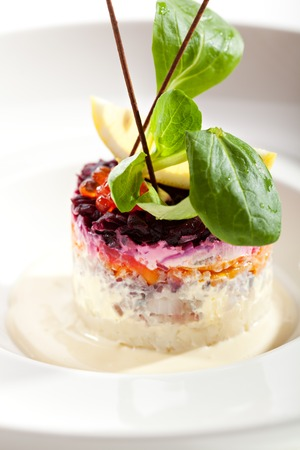exclusive: Traditional Russian Herring Salad over White