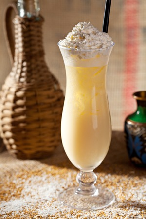 frozen drink: Cocktail Topped with Whipped Cream Stock Photo