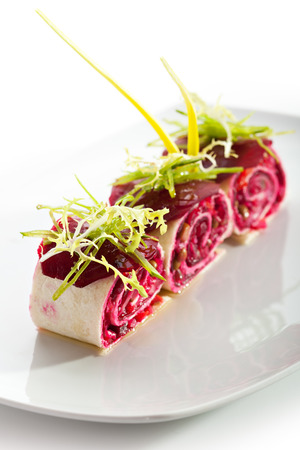 dish: Beetroot Salad in Pita Wrap Stock Photo